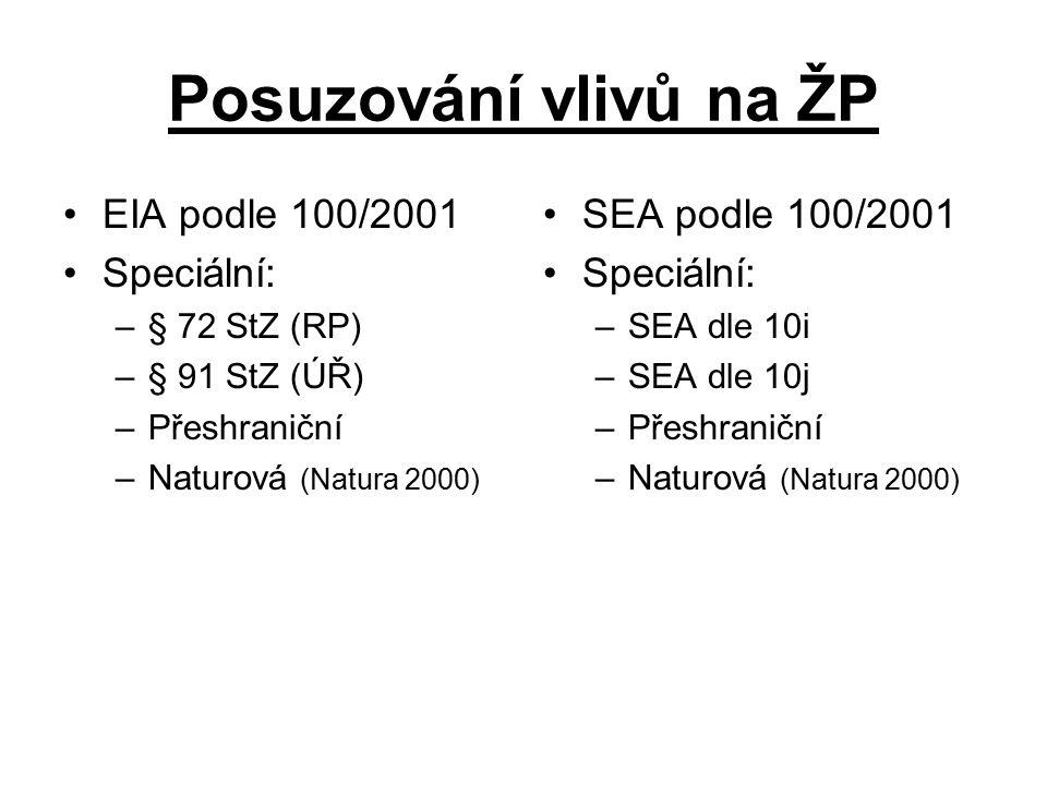 Posuzování vlivů na ŽP EIA podle 100/2001 Speciální: –§ 72 StZ (RP) –§ 91 StZ (ÚŘ) –Přeshraniční –Naturová (Natura 2000) SEA podle 100/2001 Speciální: –SEA dle 10i –SEA dle 10j –Přeshraniční –Naturová (Natura 2000)
