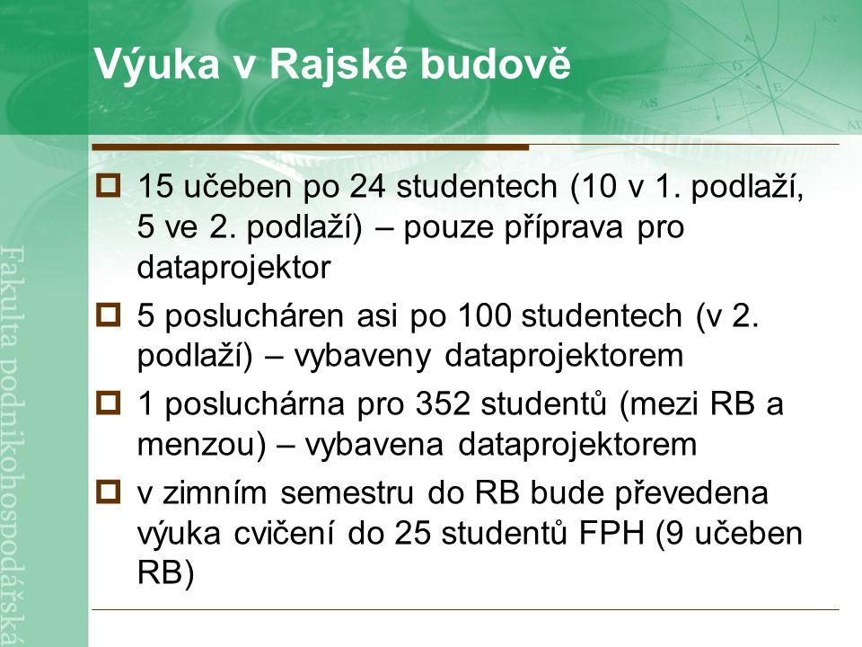 Výuka v Rajské budově  15 učeben po 24 studentech (10 v 1.