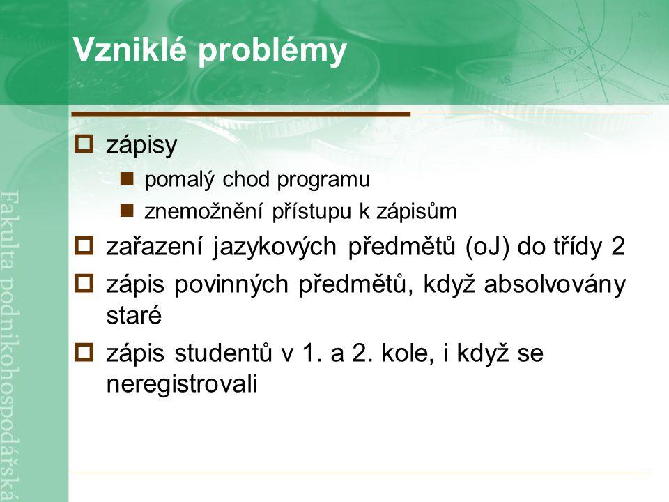 Vzniklé problémy  zápisy pomalý chod programu znemožnění přístupu k zápisům  zařazení jazykových předmětů (oJ) do třídy 2  zápis povinných předmětů, když absolvovány staré  zápis studentů v 1.