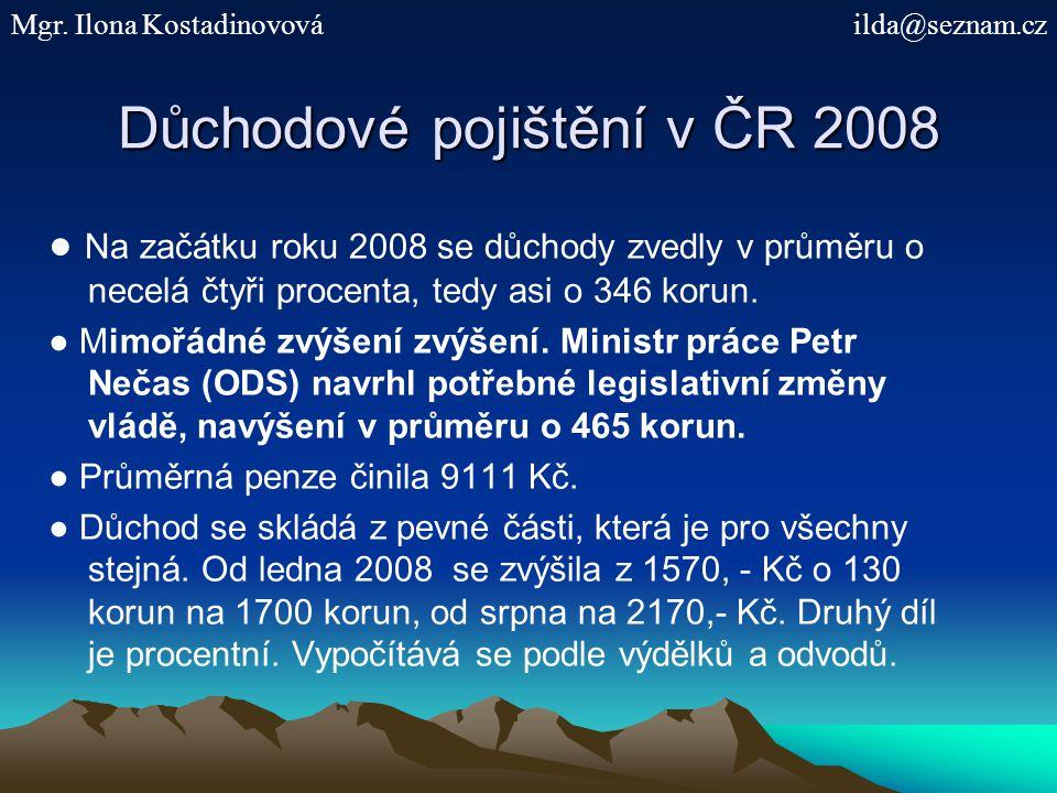 Důchodové pojištění v ČR 2008 ● Na začátku roku 2008 se důchody zvedly v průměru o necelá čtyři procenta, tedy asi o 346 korun. ● Mimořádné zvýšení zv