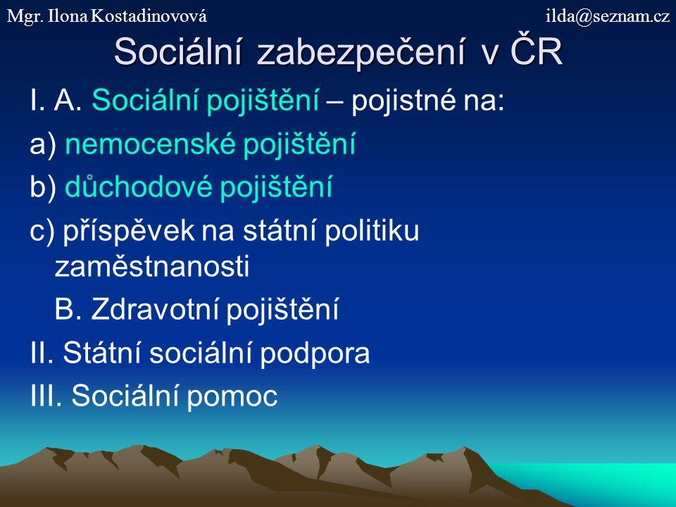 Sociální zabezpečení v ČR I. A. Sociální pojištění – pojistné na: a) nemocenské pojištění b) důchodové pojištění c) příspěvek na státní politiku zaměs