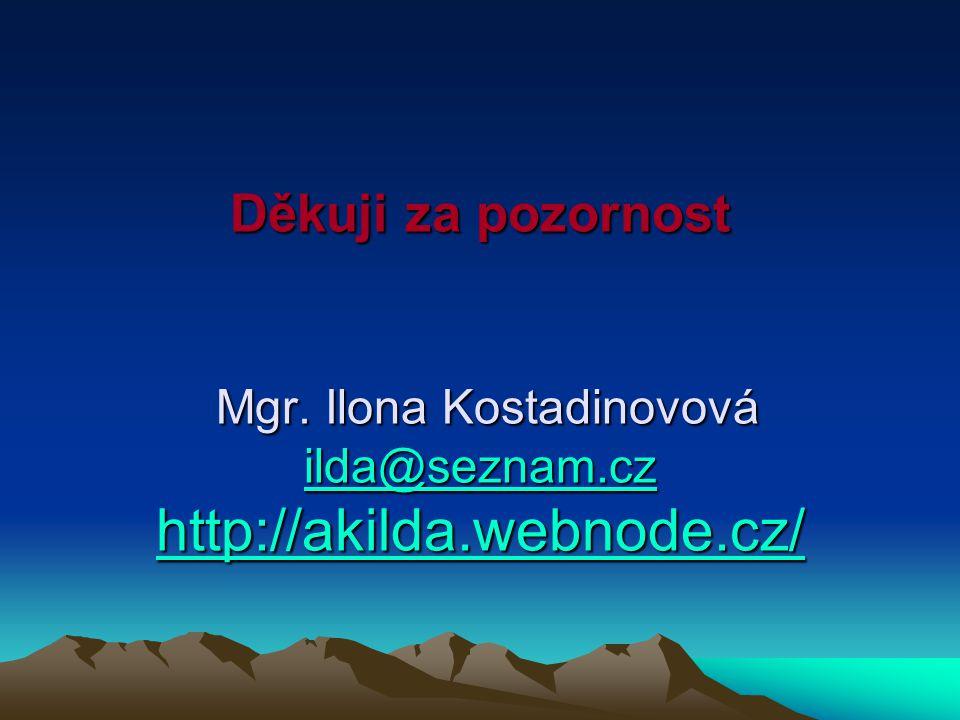 Děkuji za pozornost Mgr. Ilona Kostadinovová ilda@seznam.cz http://akilda.webnode.cz/ ilda@seznam.cz http://akilda.webnode.cz/ ilda@seznam.cz http://a