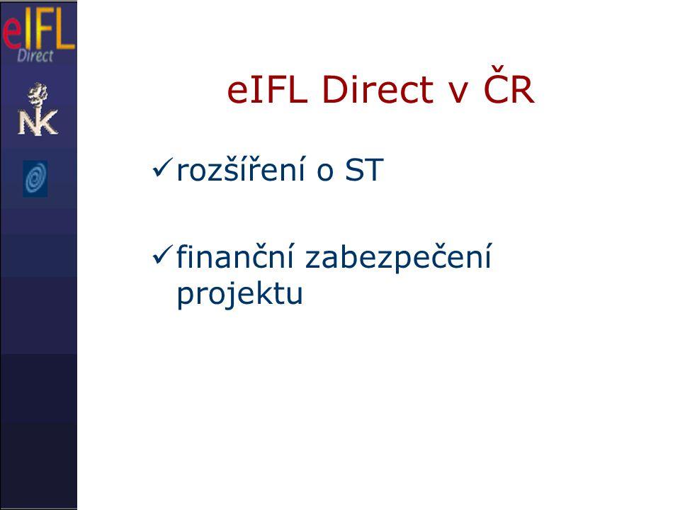 eIFL Direct v ČR rozšíření o ST finanční zabezpečení projektu
