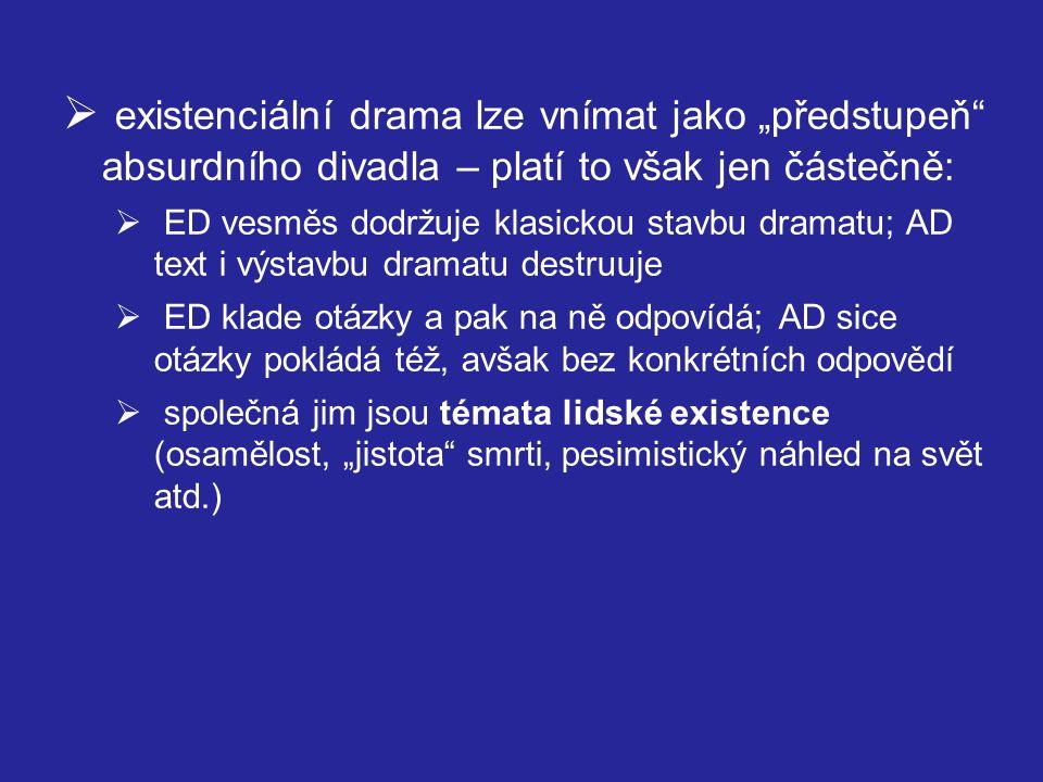 """ vývoj tvorby od symbolismu po existencialismus  1947 – Nobelova cena  1947 – spolu s Jean-Louis Barraultem zdramatizoval Kafkův Proces (Théâtre Marigny)  """"zjevení v poválečném pařížském divadle  užití mnoha postupů využívaných později představiteli absurdního dramatu  Gidova dramatická tvorba:  Saul (1903)  Oidipus (1932)  Persefona (1934)  Théseus (1946)"""