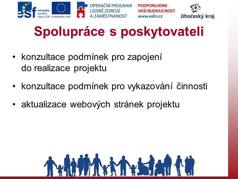 Spolupráce s poskytovateli konzultace podmínek pro zapojení do realizace projektu konzultace podmínek pro vykazování činnosti aktualizace webových stránek projektu