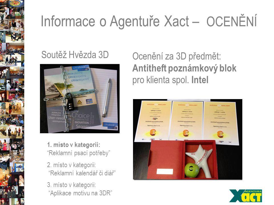 Informace o Agentuře Xact – OCENĚNÍ Soutěž Hvězda 3D Ocenění za 3D předmět: Antitheft poznámkový blok pro klienta spol.