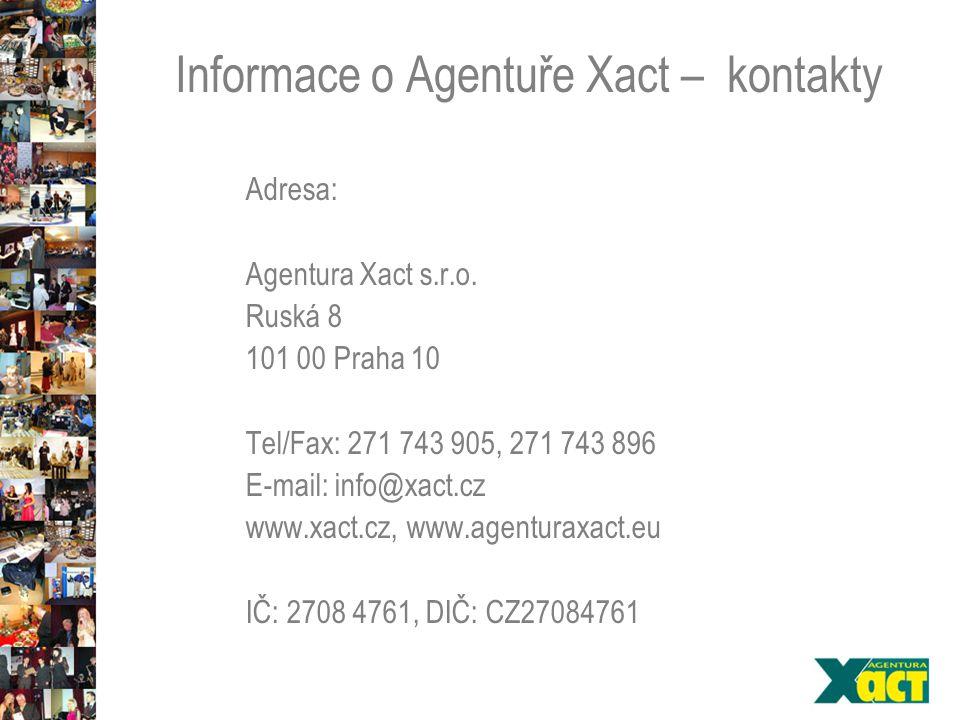 Informace o Agentuře Xact – kontakty Adresa: Agentura Xact s.r.o.