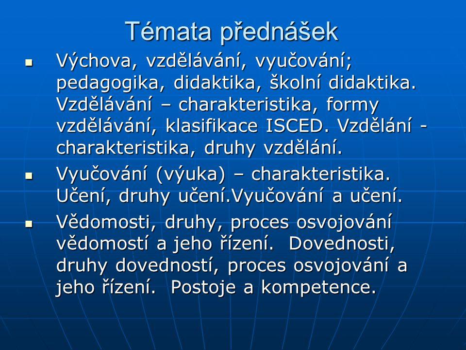 Témata přednášek Výchova, vzdělávání, vyučování; pedagogika, didaktika, školní didaktika. Vzdělávání – charakteristika, formy vzdělávání, klasifikace