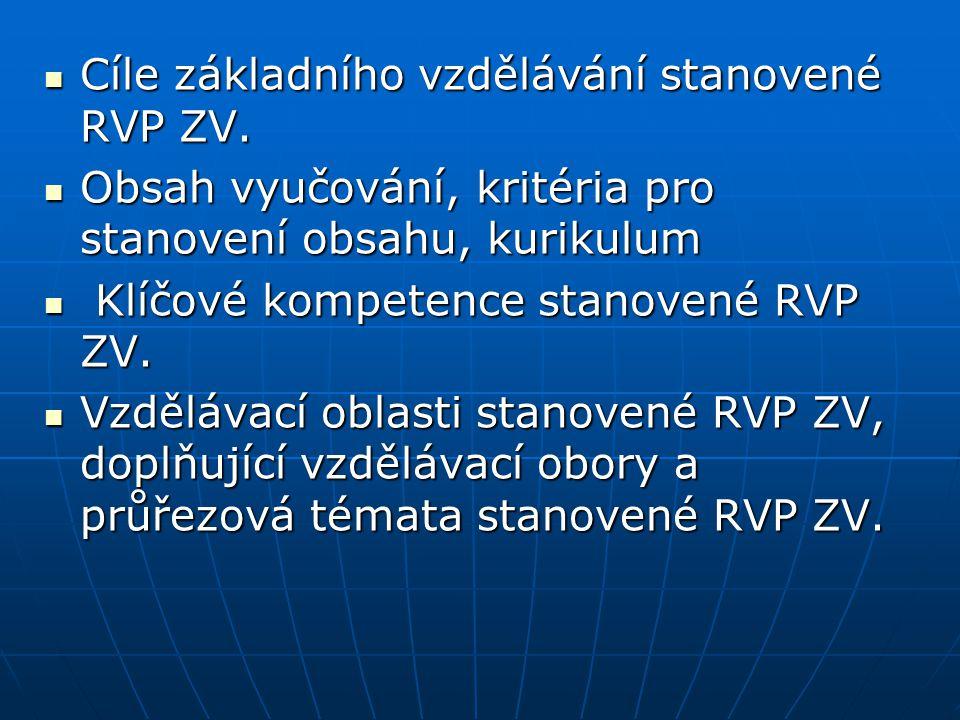 Cíle základního vzdělávání stanovené RVP ZV. Cíle základního vzdělávání stanovené RVP ZV. Obsah vyučování, kritéria pro stanovení obsahu, kurikulum Ob