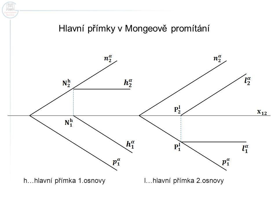 Hlavní přímky v Mongeově promítání h…hlavní přímka 1.osnovy l…hlavní přímka 2.osnovy