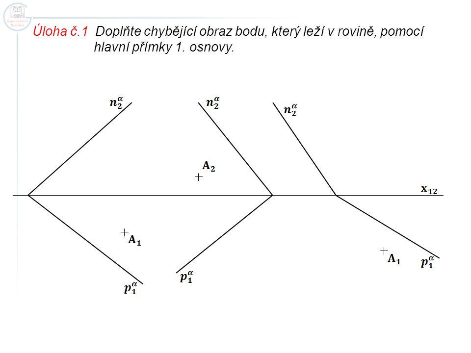 Úloha č.1 Doplňte chybějící obraz bodu, který leží v rovině, pomocí hlavní přímky 1. osnovy.