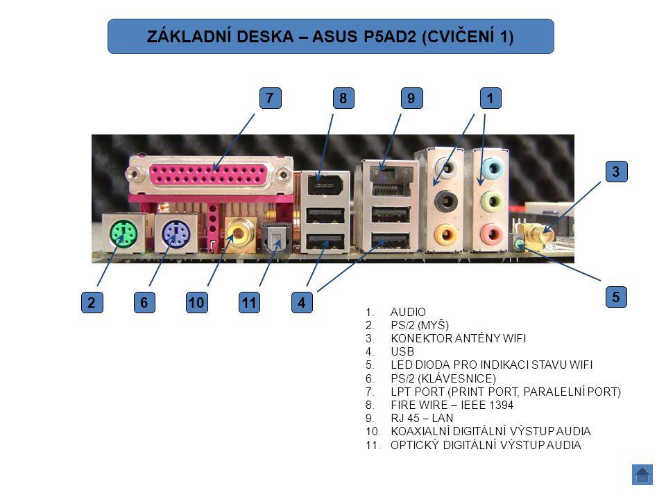 1.AUDIO 2.PS/2 (MYŠ) 3.KONEKTOR ANTÉNY WIFI 4.USB 5.LED DIODA PRO INDIKACI STAVU WIFI 6.PS/2 (KLÁVESNICE) 7.LPT PORT (PRINT PORT, PARALELNÍ PORT) 8.FI