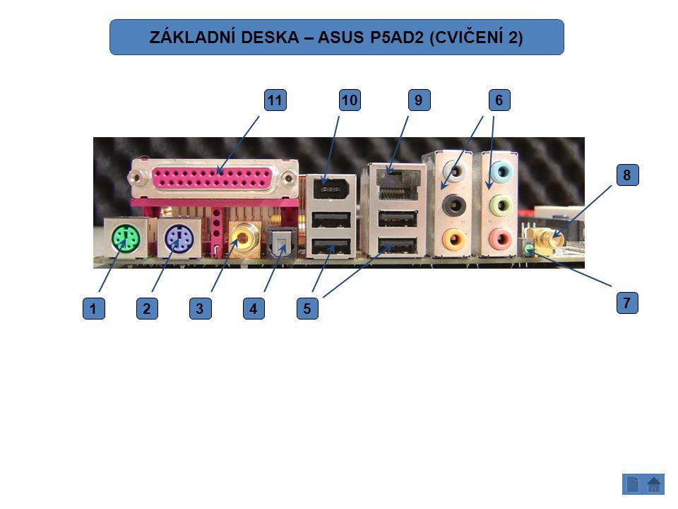 12345 6 7 8 91011 ZÁKLADNÍ DESKA – ASUS P5AD2 (CVIČENÍ 2)
