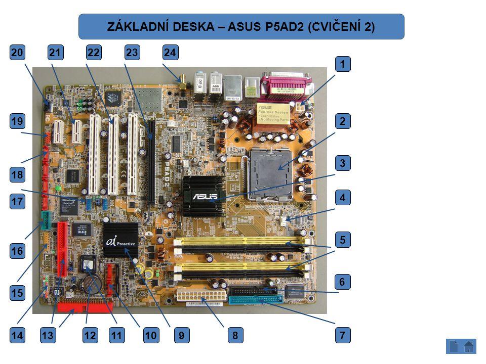 1.ATX 12 V 2.SOCKET CPU (INTEL 775) 3.NORTH BRIDGE (SEVERNÍ MOST) 4.CPU FAN 5.SLOTY PRO PAMĚTI (DDRII) 6.FLOPPY 7.PRI IDE 8.ATX KONEKTOR (24 PINŮ) 9.SOUTH BRIDGE (JIŽNÍ MOST) 10.SATA 11.BIOS 12.BIOS - BATERIE 13.IDE RAID 14.KONEKTORY PRO PŘEDNÍ POWER PANEL 15.GAME PORT 16.COM PORT (SÉRIOVÝ PORT) – ROZHRANÍ RS 232 17.USB 18.SATA RAID 19.FIRE WIRE – IEEE1394 20.AUDIO VSTUP – CD IN 21.PCI EXPRES 1 22.PCI 23.PCI EXPRES 16 24.WIFI ANTÉNA 1 2 3 4 5 6 789101314 15 16 17 18 19 20 21222324 1112 ZÁKLADNÍ DESKA – ASUS P5AD2 (CVIČENÍ 2)