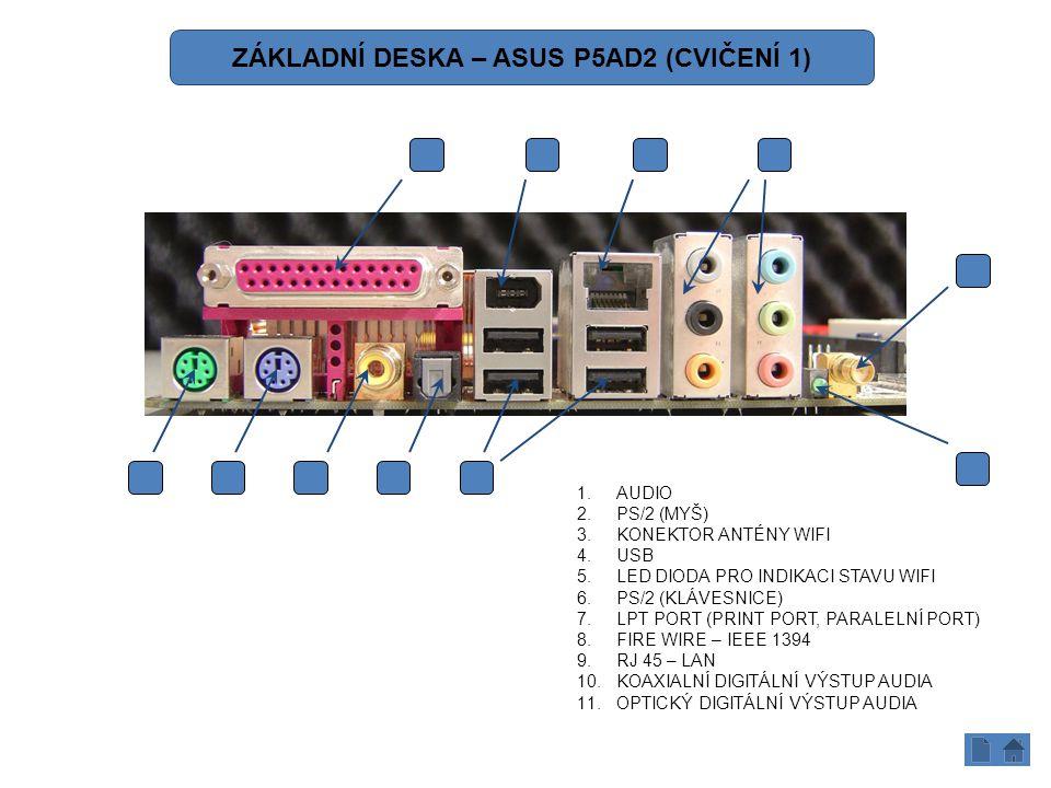 1.AUDIO 2.PS/2 (MYŠ) 3.KONEKTOR ANTÉNY WIFI 4.USB 5.LED DIODA PRO INDIKACI STAVU WIFI 6.PS/2 (KLÁVESNICE) 7.LPT PORT (PRINT PORT, PARALELNÍ PORT) 8.FIRE WIRE – IEEE 1394 9.RJ 45 – LAN 10.KOAXIALNÍ DIGITÁLNÍ VÝSTUP AUDIA 11.OPTICKÝ DIGITÁLNÍ VÝSTUP AUDIA 2610114 1 5 3 987 ZÁKLADNÍ DESKA – ASUS P5AD2 (CVIČENÍ 1)