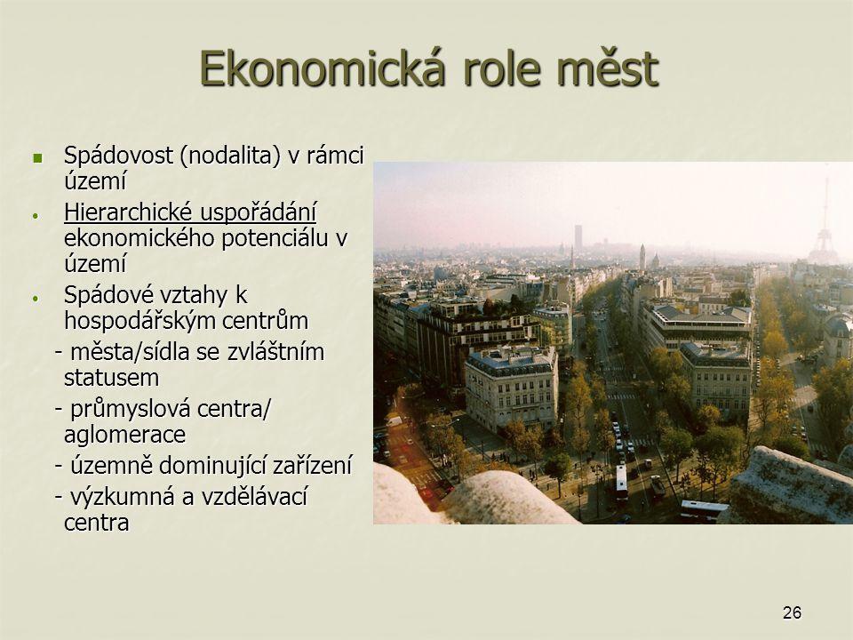 26 Ekonomická role měst Spádovost (nodalita) v rámci území Spádovost (nodalita) v rámci území Hierarchické uspořádání ekonomického potenciálu v území Hierarchické uspořádání ekonomického potenciálu v území Spádové vztahy k hospodářským centrům Spádové vztahy k hospodářským centrům - města/sídla se zvláštním statusem - města/sídla se zvláštním statusem - průmyslová centra/ aglomerace - průmyslová centra/ aglomerace - územně dominující zařízení - územně dominující zařízení - výzkumná a vzdělávací centra - výzkumná a vzdělávací centra