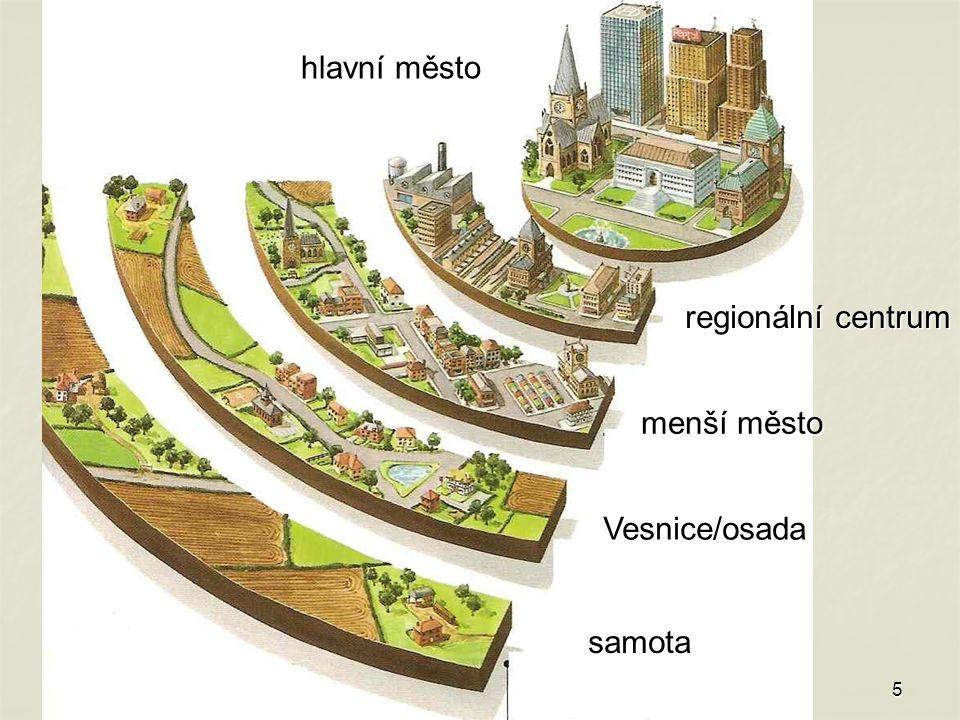 5 samota Vesnice/osada menší město regionální centrum hlavní město