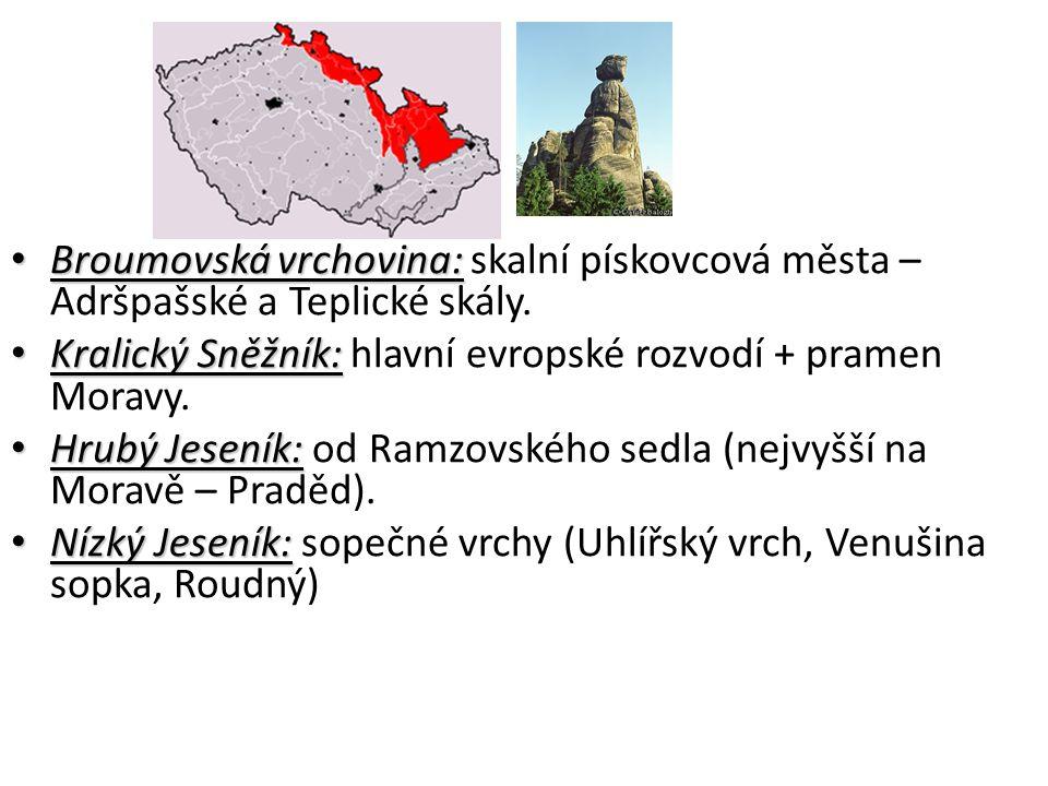 Broumovská vrchovina: Broumovská vrchovina: skalní pískovcová města – Adršpašské a Teplické skály.