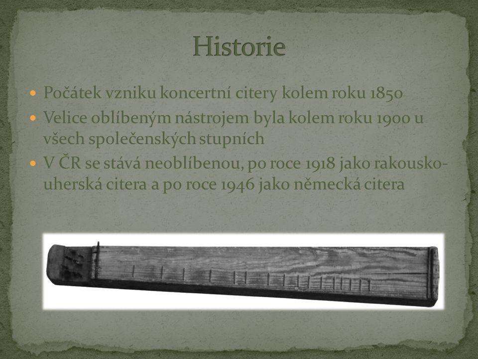 Počátek vzniku koncertní citery kolem roku 1850 Velice oblíbeným nástrojem byla kolem roku 1900 u všech společenských stupních V ČR se stává neoblíben