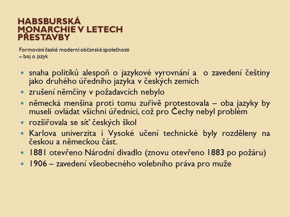HABSBURSKÁ MONARCHIE V LETECH PŘESTAVBY Formování české moderní občanské společnosti – boj o jazyk snaha politiků alespoň o jazykové vyrovnání a o zav