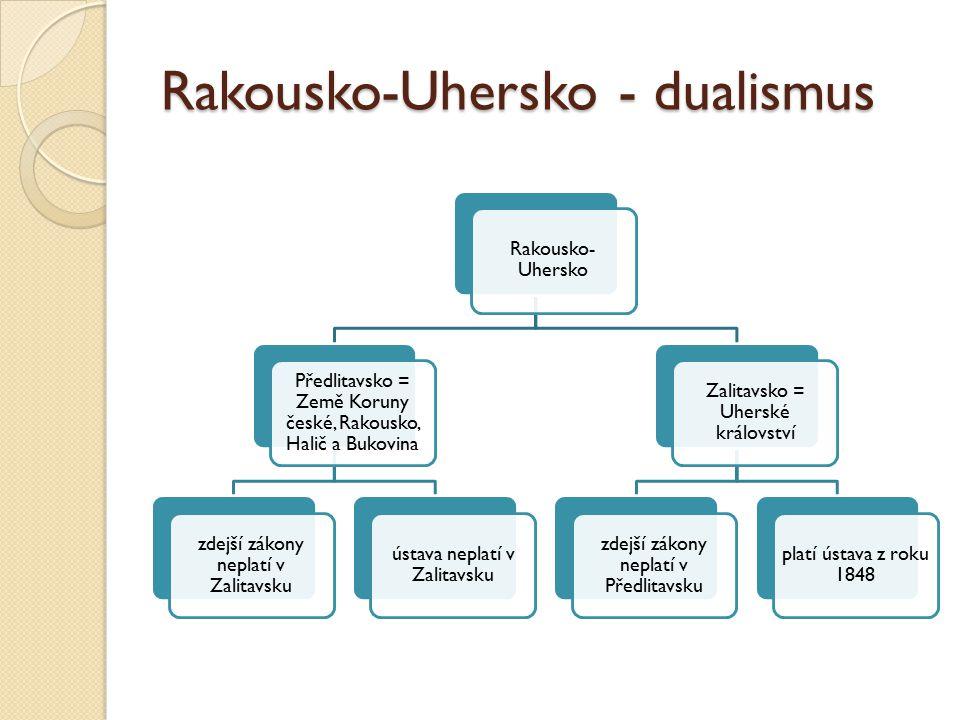 Rakousko-Uhersko - dualismus Rakousko- Uhersko Předlitavsko = Země Koruny české, Rakousko, Halič a Bukovina zdejší zákony neplatí v Zalitavsku ústava