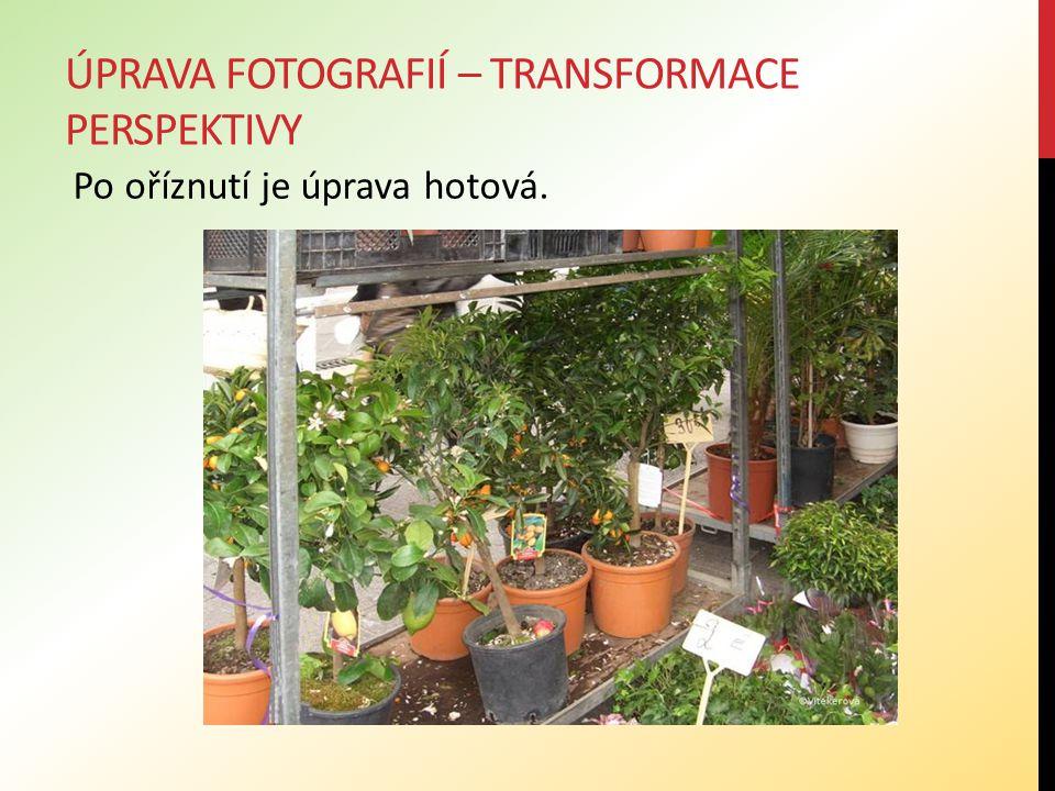 ÚPRAVA FOTOGRAFIÍ – TRANSFORMACE PERSPEKTIVY Po oříznutí je úprava hotová.