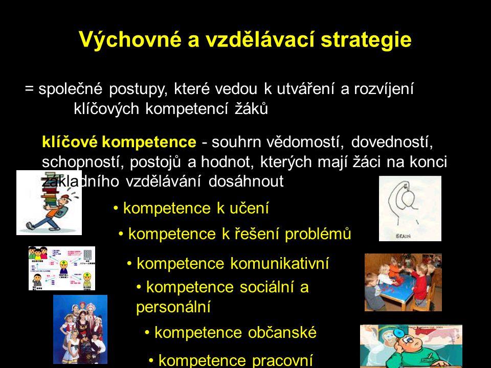 kompetence k učení Výchovné a vzdělávací strategie = společné postupy, které vedou k utváření a rozvíjení klíčových kompetencí žáků klíčové kompetence - souhrn vědomostí, dovedností, schopností, postojů a hodnot, kterých mají žáci na konci základního vzdělávání dosáhnout kompetence sociální a personální kompetence k řešení problémů kompetence komunikativní kompetence občanské kompetence pracovní