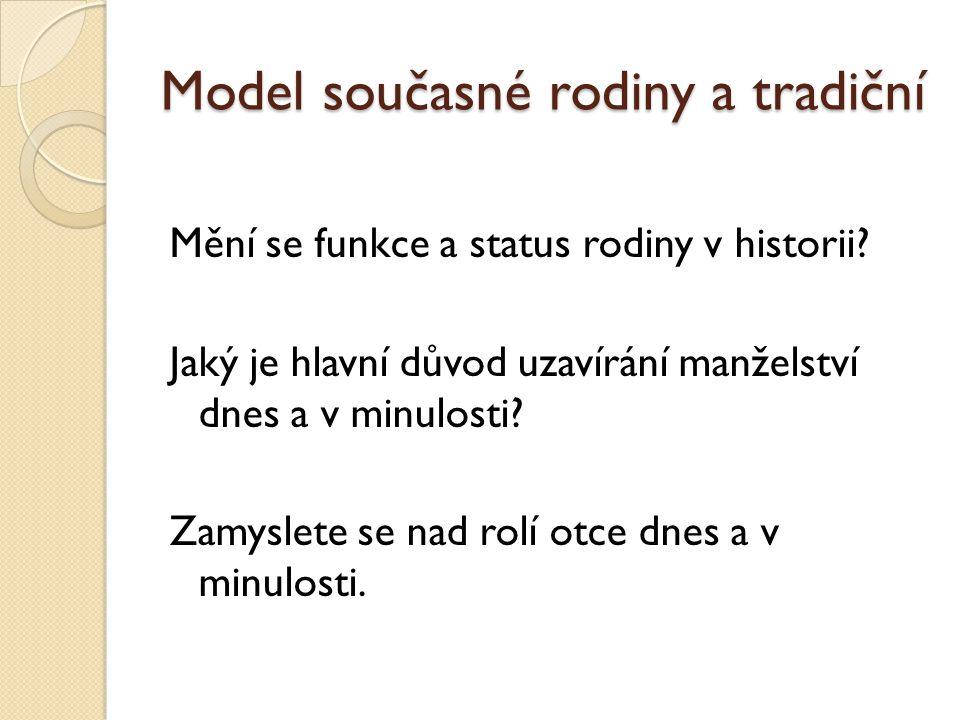 Model současné rodiny a tradiční Mění se funkce a status rodiny v historii.