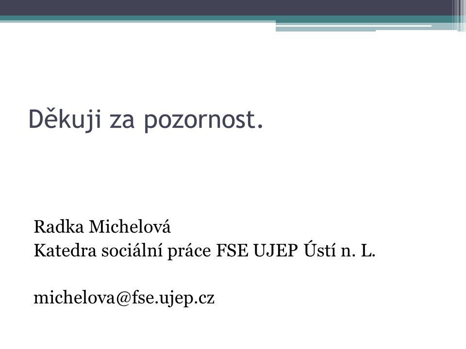 Děkuji za pozornost. Radka Michelová Katedra sociální práce FSE UJEP Ústí n. L. michelova@fse.ujep.cz