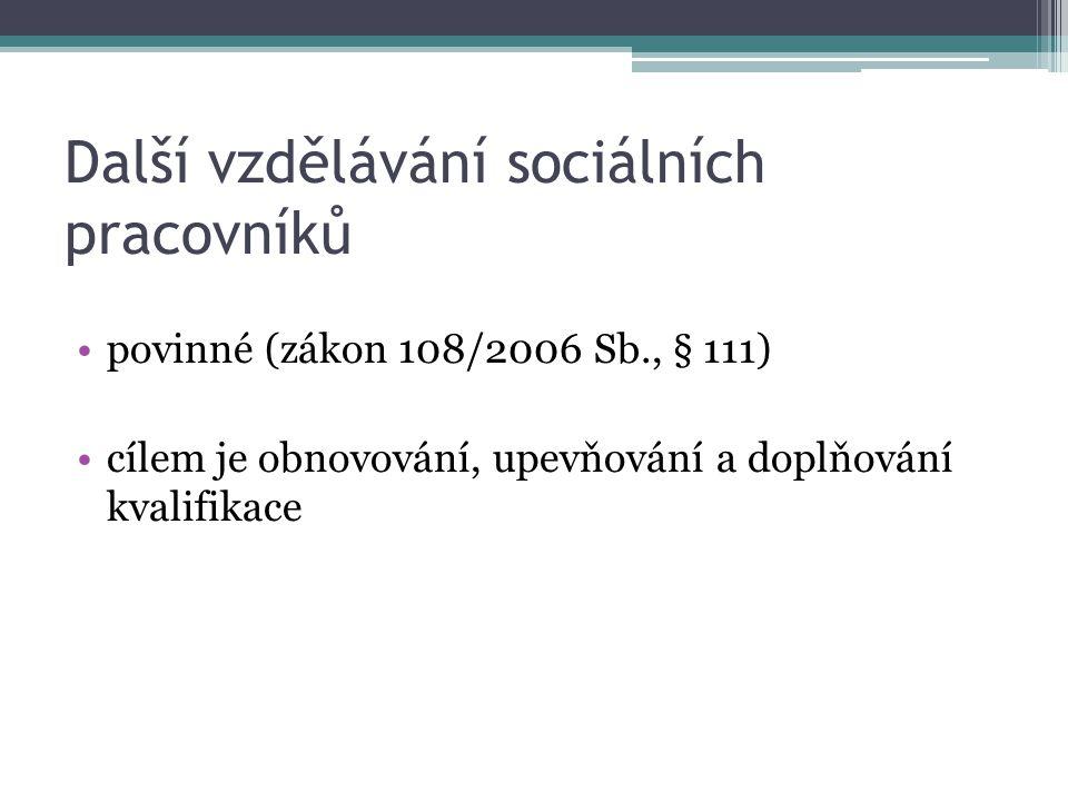 Další vzdělávání sociálních pracovníků povinné (zákon 108/2006 Sb., § 111) cílem je obnovování, upevňování a doplňování kvalifikace