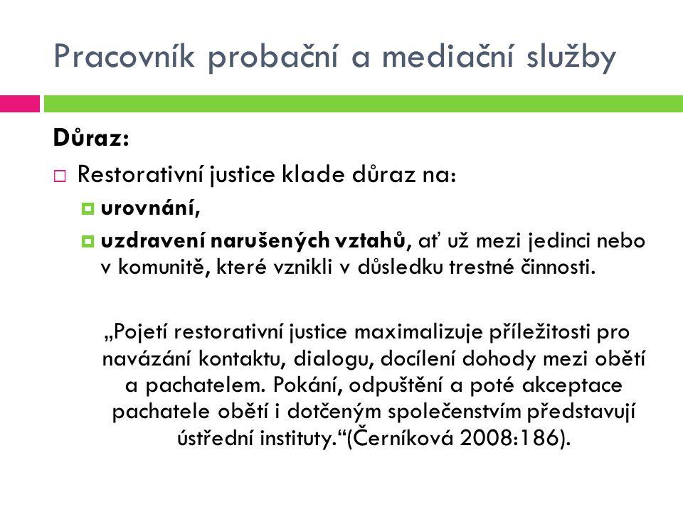 """Pracovník probační a mediační služby Druhy alternativních řešení:  """"Alternativy v trestním řízení – odklony (diverze)  podmíněné zastavení trestního stíhání  narovnání  Alternativy k potrestání  upuštění od potrestání  podmíněné upuštění od potrestání alternativy v systému trestního práva hmotného  Alternativy k trestu odnětí svobody  podmíněné odsouzení  podmíněné odsouzení s dohledem  parole – povinně (podmíněné propuštění z výkonu trestu s dohledem)  obecně prospěšné práce  peněžitý trest  další alternativní tresty ."""