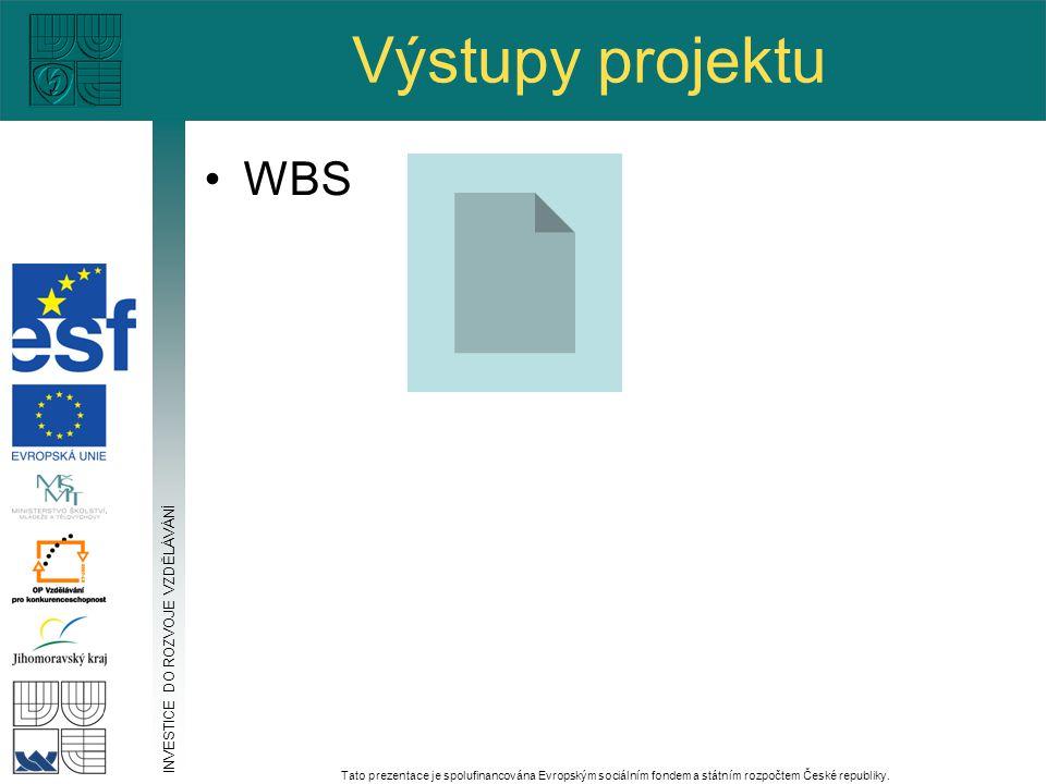 Výstupy projektu WBS INVESTICE DO ROZVOJE VZDĚLÁVÁNÍ Tato prezentace je spolufinancována Evropským sociálním fondem a státním rozpočtem České republiky.