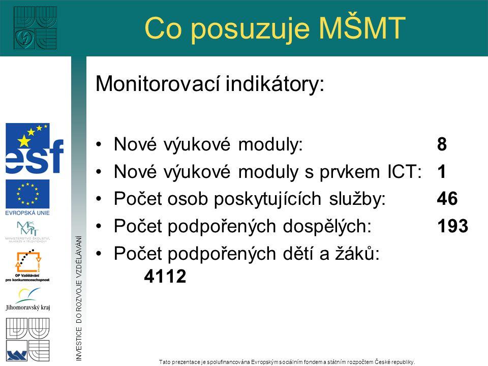 Co posuzuje MŠMT Monitorovací indikátory: Nové výukové moduly:8 Nové výukové moduly s prvkem ICT: 1 Počet osob poskytujících služby: 46 Počet podpořen