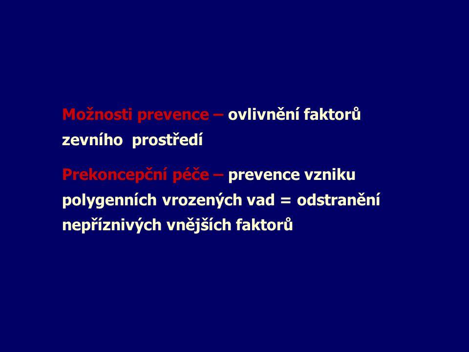 Možnosti prevence – ovlivnění faktorů zevního prostředí Prekoncepční péče – prevence vzniku polygenních vrozených vad = odstranění nepříznivých vnější