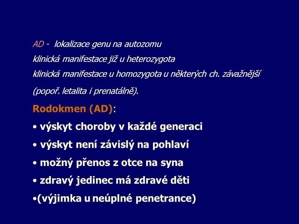 Autosomálně recesivní: AR: Aa x Aa rodiče nosiči AA Aa aA aa děti riziko: 25% Postižený x nosič (aa x Aa) riziko: 50% AR - lokalizace genu na autozomu klinická manifestace u recesivního homozygota