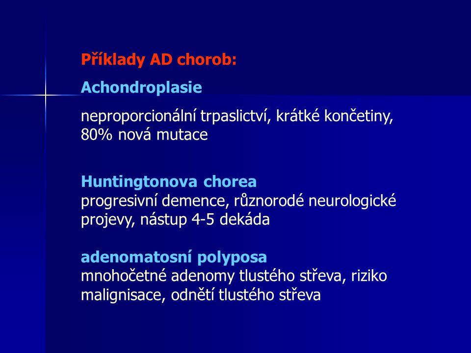 Příklady AR chorob Cystická fibrosa (nejčastější AR choroba u bělochů 1/2000) porucha transportu chloridových iontů, plicní infekce, nedostatečná funkce pankreatu Phenylketonurie defekt fenylalanin hydroxylasy, porucha myelinisace, mentální retardace srpkovitá anemie hemolytická anemie-výskyt u černochů v Africe v malarických oblastech