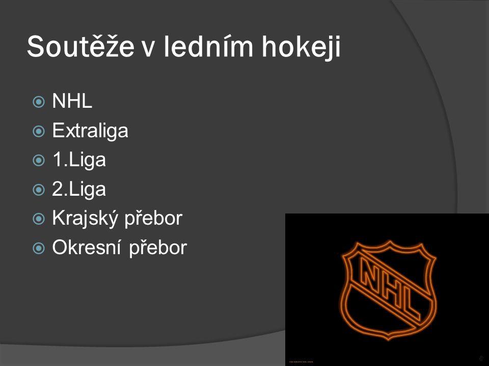 Soutěže v ledním hokeji  NHL  Extraliga  1.Liga  2.Liga  Krajský přebor  Okresní přebor