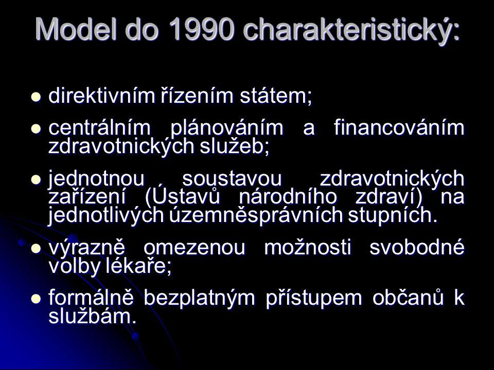 Model do 1990 charakteristický: direktivním řízením státem; direktivním řízením státem; centrálním plánováním a financováním zdravotnických služeb; centrálním plánováním a financováním zdravotnických služeb; jednotnou soustavou zdravotnických zařízení (Ústavů národního zdraví) na jednotlivých územněsprávních stupních.