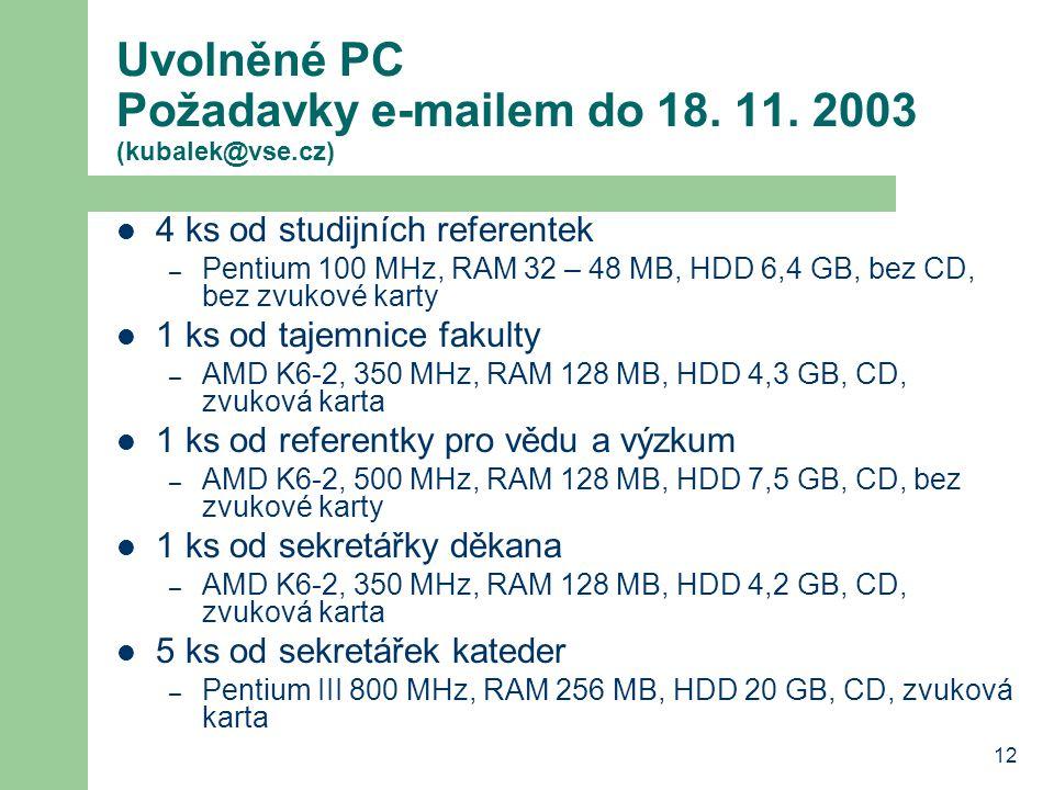 12 Uvolněné PC Požadavky e-mailem do 18. 11. 2003 (kubalek@vse.cz) 4 ks od studijních referentek – Pentium 100 MHz, RAM 32 – 48 MB, HDD 6,4 GB, bez CD
