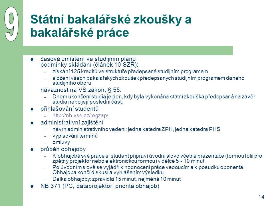 14 Státní bakalářské zkoušky a bakalářské práce časové umístění ve studijním plánu podmínky skládání (článek 10 SZŘ): – získání 125 kreditů ve struktu
