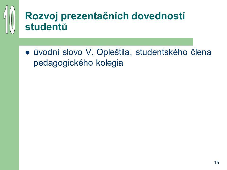 15 Rozvoj prezentačních dovedností studentů úvodní slovo V. Opleštila, studentského člena pedagogického kolegia