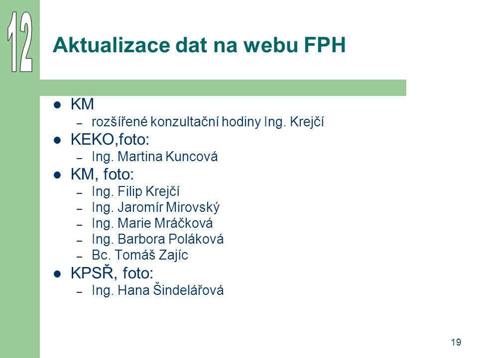 19 Aktualizace dat na webu FPH KM – rozšířené konzultační hodiny Ing. Krejčí KEKO,foto: – Ing. Martina Kuncová KM, foto: – Ing. Filip Krejčí – Ing. Ja