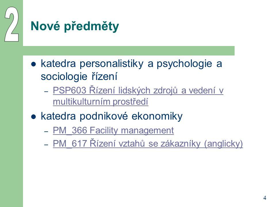 4 Nové předměty katedra personalistiky a psychologie a sociologie řízení – PSP603 Řízení lidských zdrojů a vedení v multikulturním prostředí PSP603 Ří