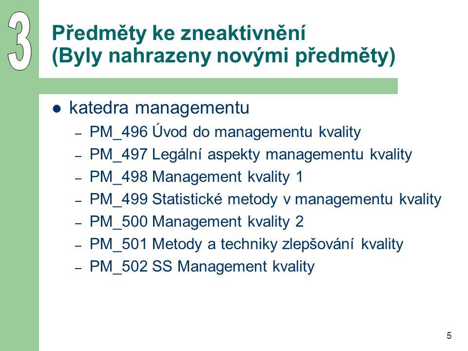 6 Změny názvů předmětů katedra managementu – PM_203 Trh nemovitostí (dříve Trh nemovitostí 1) – PM_213 Řízení a správa společností (dříve Řízení a správa společnosti) – PM_528 anglicky: Management of Occupational Safety (dříve Management of Safety) katedra podnikové ekonomiky – PE_436 Quattro Pro pro Windows - základy změnit na: česky: Tabulkový procesor Quattro Pro v podnikové praxi anglicky: Spreadsheet Quattro Pro in Common Corporate Use německy: Tabellenkalkulator Quattro Pro in Betriebspraxis – PE_466 Paradox pro Windows - základy změnit na: česky: Pracujeme s relační databází Paradox anglicky: Working with relational database Paradox německy: Arbeit mit Relationsdatenbank Paradox