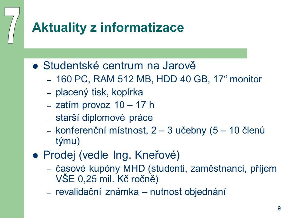 """9 Aktuality z informatizace Studentské centrum na Jarově – 160 PC, RAM 512 MB, HDD 40 GB, 17"""" monitor – placený tisk, kopírka – zatím provoz 10 – 17 h"""