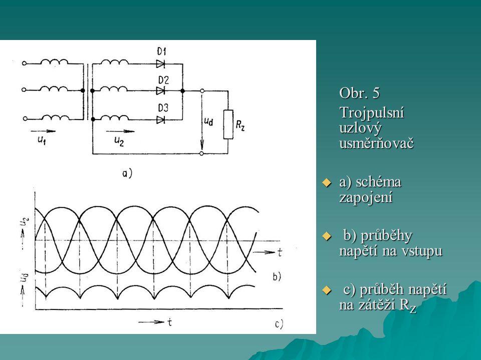 Obr. 5 Trojpulsní uzlový usměrňovač  a) schéma zapojení  b) průběhy napětí na vstupu  c) průběh napětí na zátěži R Z