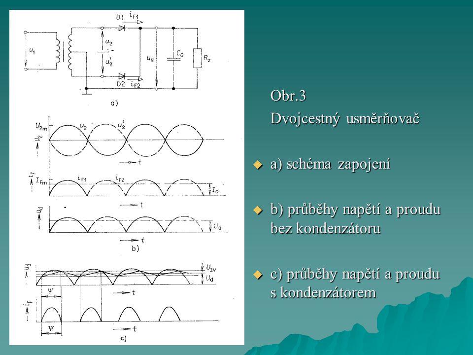 Obr.3 Dvojcestný usměrňovač  a) schéma zapojení  b) průběhy napětí a proudu bez kondenzátoru  c) průběhy napětí a proudu s kondenzátorem