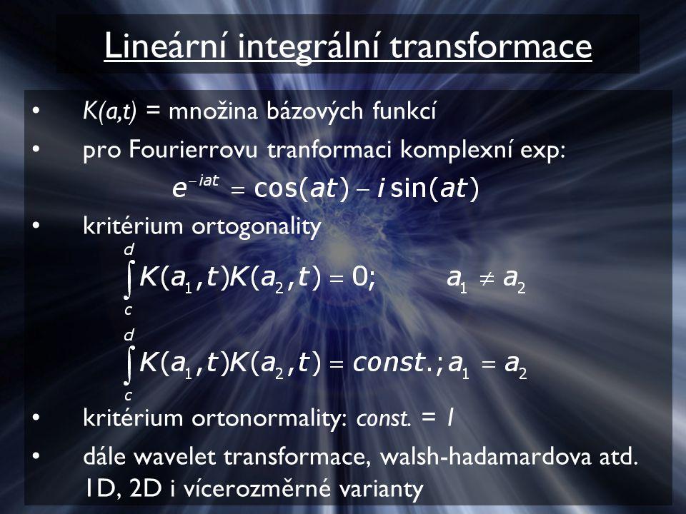 Lineární integrální transformace K(a,t) = množina bázových funkcí pro Fourierrovu tranformaci komplexní exp: kritérium ortogonality kritérium ortonormality: const.