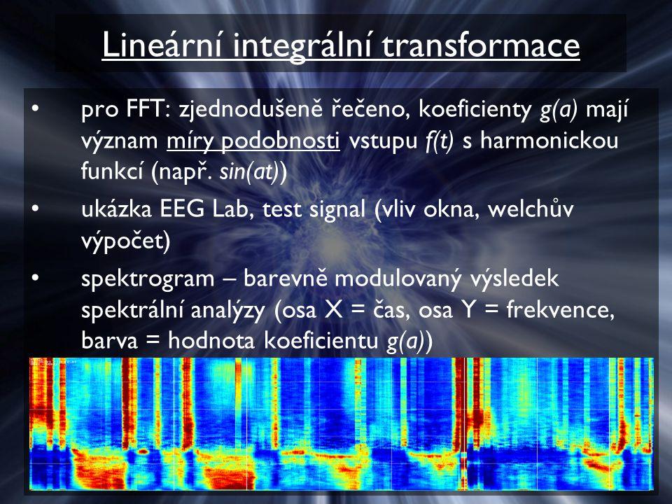 Lineární integrální transformace pro FFT: zjednodušeně řečeno, koeficienty g(a) mají význam míry podobnosti vstupu f(t) s harmonickou funkcí (např.