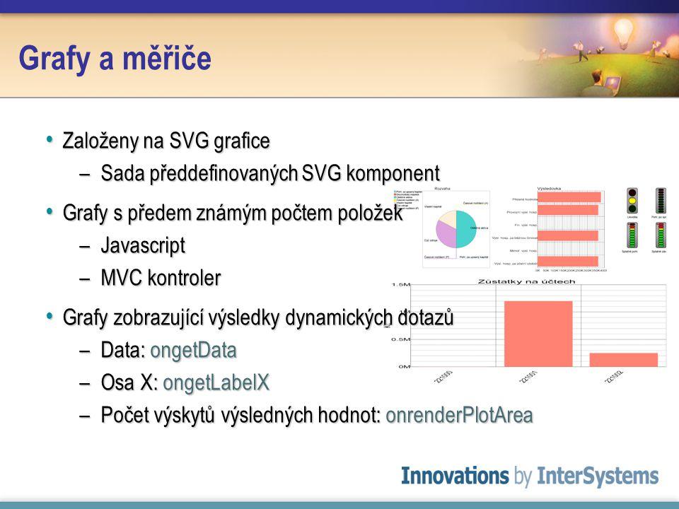 Grafy a měřiče Založeny na SVG grafice Založeny na SVG grafice –Sada předdefinovaných SVG komponent Grafy s předem známým počtem položek Grafy s předem známým počtem položek –Javascript –MVC kontroler Grafy zobrazující výsledky dynamických dotazů Grafy zobrazující výsledky dynamických dotazů –Data: ongetData –Osa X: ongetLabelX –Počet výskytů výsledných hodnot: onrenderPlotArea